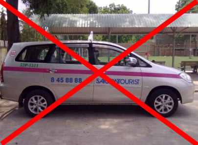 Although not a fake taxi these Saigon Tourist taxi are notoriously thugs in Vietnam